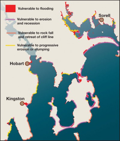 A 2005 study of Tasmania's vulnerability to sea level rise found that even modest projections would have an impact virtually everywhere around Tasmania's coast (SOURCE: Chris Sharples (2006): Indicative Mapping of Tasmanian Coastal Vulnerability to Climate Change and Sea-Level Rise – Report to Tasmanian Department of Primary Industries & Water (2nd edition), May 2006)