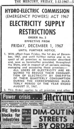 POWER RATIONING, 1967-STYLE: The executive order that began power rationing in Tasmania (above) and a page-1 report in <em>The Mercury</em> of the crisis that precipitated the order.
