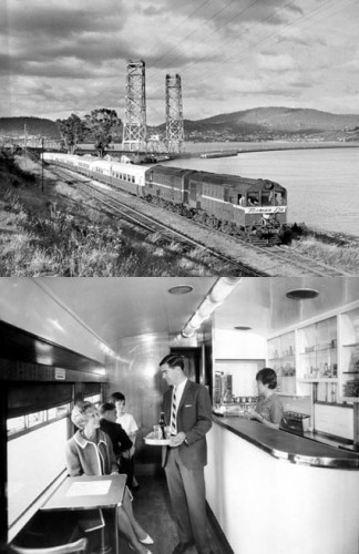 TOP  The Tasman Limited approaches the Hobart terminus, about 1959. BELOW Taking refreshments aboard the Tasman Limited in the 1970s (Archives Office of Tasmania)