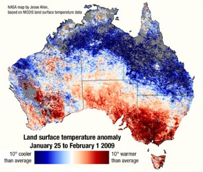 Southern Australia's extra hot weather leading up to the bushfires and cooler-than-average conditions in the north are graphically shown in this satellite-data map.