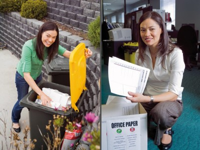 Tanya Ha, presenter of Win Television's <em>Warm TV</em> looks into household and office waste