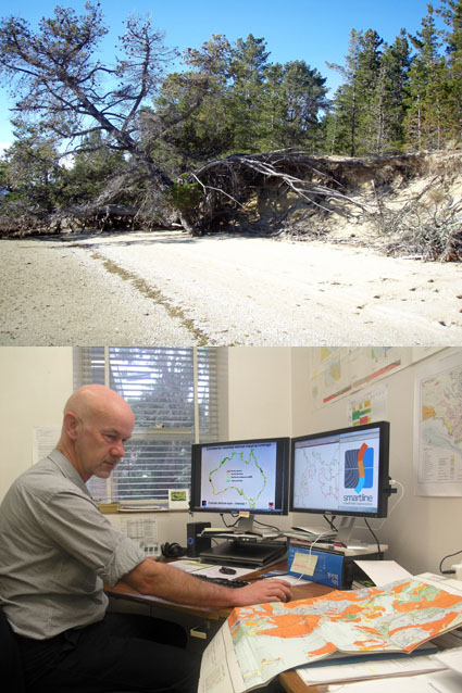 <em>TOP:</em> Slowly rising sea levels combined with wave and tidal impacts to cause this recent coastal erosion at Pittwater, near Seven Mile Beach. <em>BOTTOM:</em> Chris Sharples at work on his national coastal mapping project.