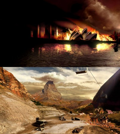 "Sydney ablaze (above) and a snowless European Alps: future climate visions from the UK film, ""The Age of Stupid"""