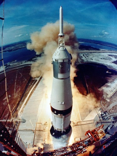The Saturn V rocket carrying the Apollo 11 astronauts as it prepares to lift off at the start of the successful 1969 Apollo 11 mission, in which astronauts landed on the Moon for the time. PHOTO NASA