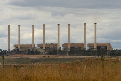 Hazelwood in Victoria's Latrobe Valley. A growing proportion of Tasmanian electricity is produced by Victorian coal-fired power stations. PHOTO WIKIPEDIA COMMONS