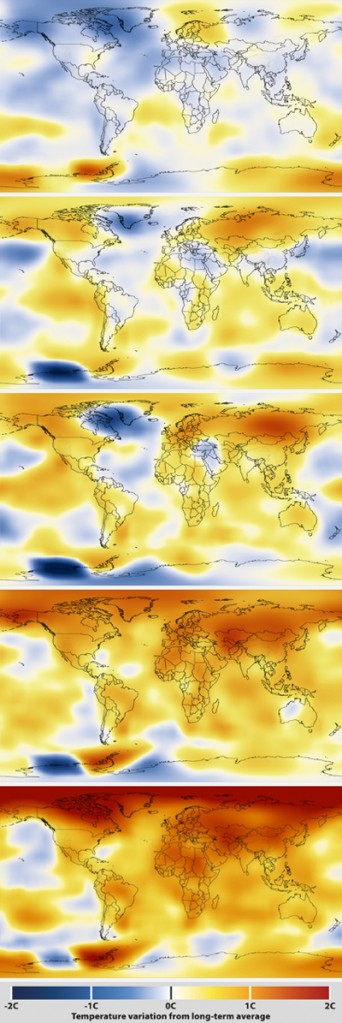 How the world has warmed since 1970: maps prepared by NASA's Goddard Institute