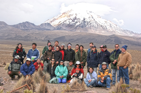 Delegates from six Andean countries pose in the Bolivian Andes during a 2007 workshop of the Global Observation Research Initiative in Alpine Environments (GLORIA) which resulted in a big rise in the number of long-term observation sites in the Andes. PHOTO: GLORIA