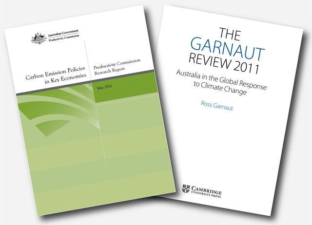 Analyses by the Productivity Commission (left) and Ross Garnaut (right) both support a carbon pricing scheme as the centrepiece for climate policy.
