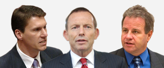 South Australian Senator Cory Bernardi (L) and Western Australian MP Dennis Jensen (R) with Tony Abbott (Composite image)