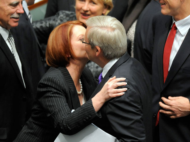 Julia Gillard and Kevin Rudd seal the victory with a kiss. PHOTO SBS
