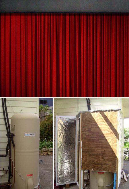 Small things can make a lot of difference, such as pelmets above curtains and good insulation around a hot water storage heater. PHOTOS CHRIS HARRIES