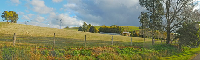 The Hepburn Wind turbines catch the breeze at Leonards Hill, south of Daylesford. PHOTO HEPBURN WIND