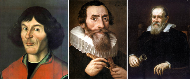 Copernicus (left), Kepler and Galileo: It took a century after Galileo's ideas were published for Catholics to accept that Earth wasn't the centre of the universe.