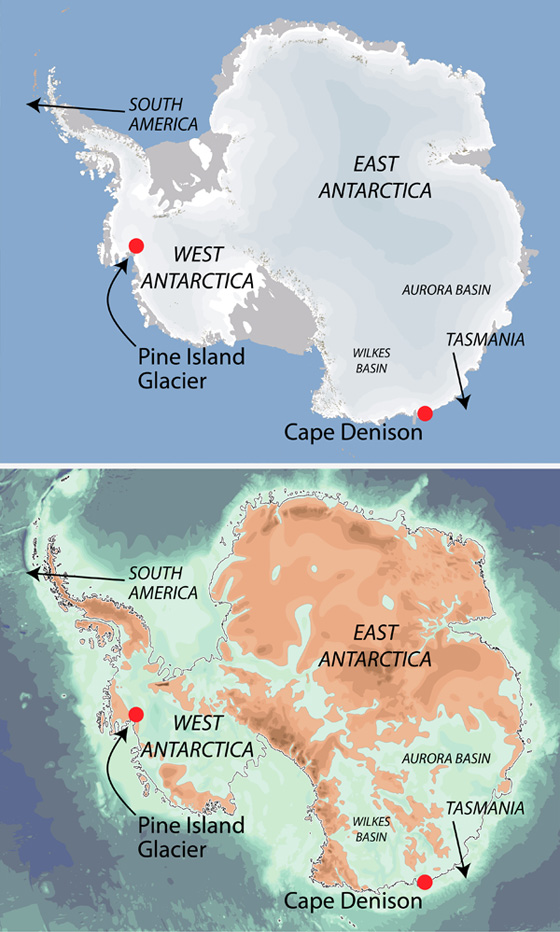 Antarctica with (top) and without its great ice sheet, showing the large areas of the continent where ice is in direct contact with seawater.