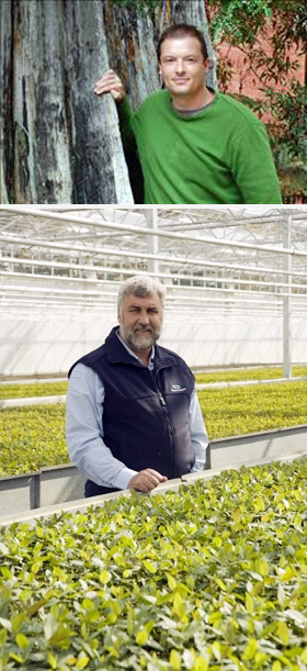 TOP: Martin Moroni. BOTTOM: Bob Gordon in a happier moment at Forestry Tasmania's Perth Forest Nursery, July 2011. PHOTOS Forestry Tasmania