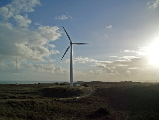 A wind turbine on King Island, part of the community's existing windfarm.