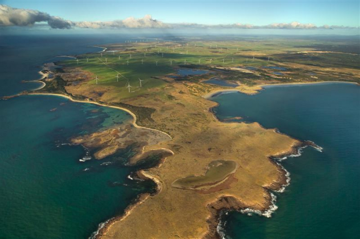 Musselroe Bay wind farm in Tasmania's north-east. PHOTO HYDRO TASMANIA