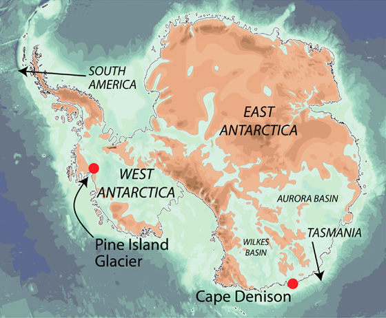 Antarctica as it would be without its ice, showing the vulnerability of West Antarctica and part of East Antarctica to warming seawater.