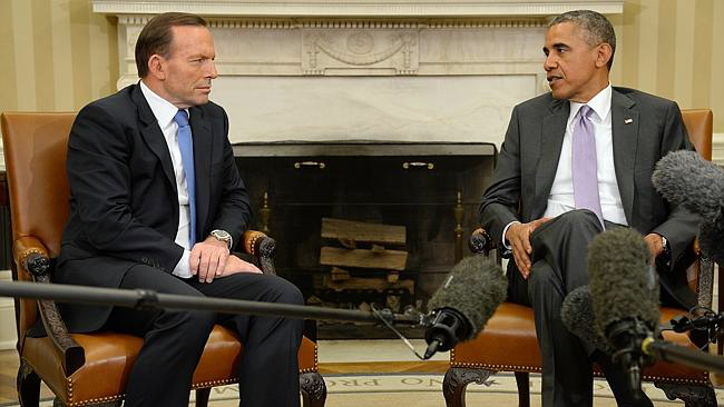 Tony Abbott and Barak Obama at the White House. PHOTO DAILY TELEGRAPH