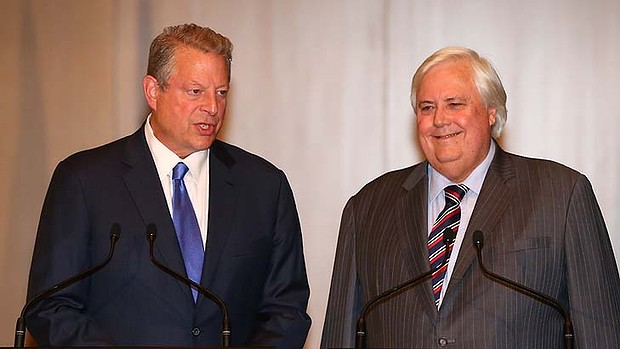 Clive Palmer beams alongside former US Vice President Al Gore during their joint press conference in the Great Hall of Parliament House, Canberra. PHOTO ALEX ELLINGHAUSEN-SMH