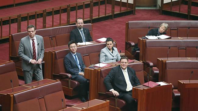 Senators Ricky Muir, Jacqui Lambie, Zhenya Wang, Glenn Lazarus and Janet Rice seated in the Senate for their introduction to Senate procedure PHOTO DAILY TELEGRAPH, SYDNEY