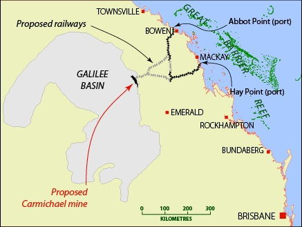 Location of Galilee Basin, Carmichael mining lease, and proposed railway and port facilities. MAP BY SOUTHWIND