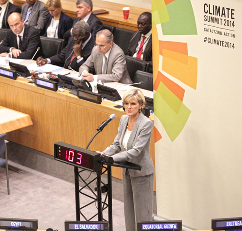 Australian foreign minister Julie Bishop addresses the UN climate summit. AUSTRALIAN GOVERNMENT PHOTO