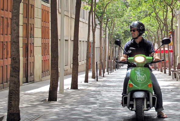 Touring Barcelona streets on a hired electric scooter. PHOTO GREENELECTRICMOTO.COM