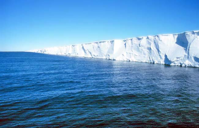 A coastal view of Antarctica's Ross Ice Shelf, largest in the world. PHOTO MICHAEL VAN WOERT, NASA