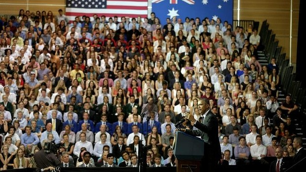 """As we focus on our economy we cannot forget the need to lead on the global fight against climate change"": Barak Obama speaking at the University of Queensland in a speech in which he announced a US pledge of $3 billion to a Green Climate Fund to help developing countries deal with climate change. PHOTO ALEX ELLINGHAUSEN"