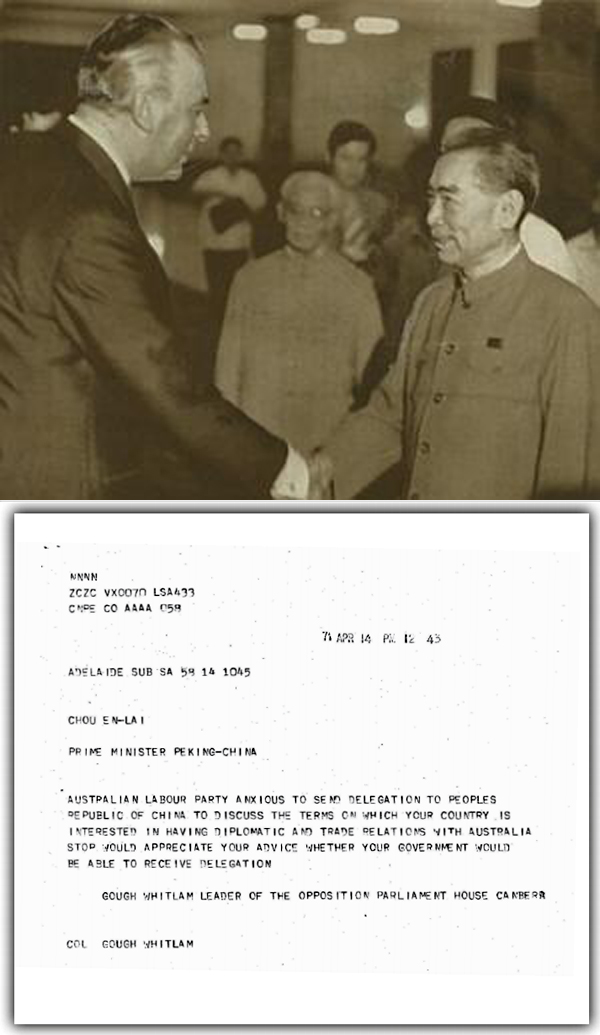Gough Whitlam meets with Zhou Enlai, Premier of China, in Beijing, July 1971. BELOW: The telegram that started it all [WHITLAM INSTITUTE, SYDNEY]