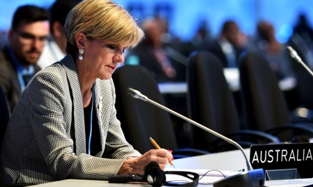 Australian foreign minister Julie Bishop at the 20th UNFCCC meeting in Lima, Peru. PHOTO GUARDIAN AUSTRALIA