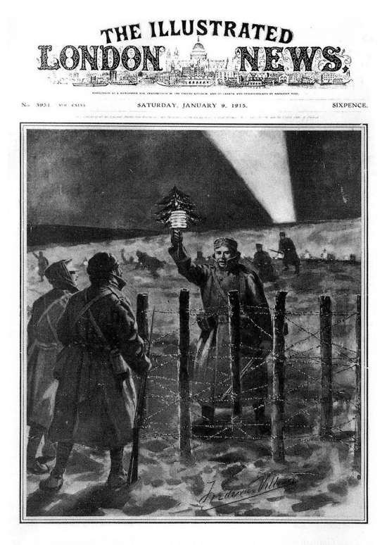 "News of the Christmas truce took two weeks to reach the popular media such as The Illustrated London News. The original caption of this picture read: ""The Light of Peace in the trenches on Christmas Eve: A German soldier opens the spontaneous truce by approaching the British lines with a small Christmas tree."""
