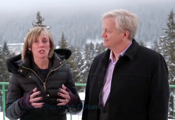 Physicist, Nobel Laureate and ANU Professor Brian Schmidt, a science panel member at this year's World Economic Forum, with a WEF interviewer at Davos. PHOTO Davos 2015 Hub Culture