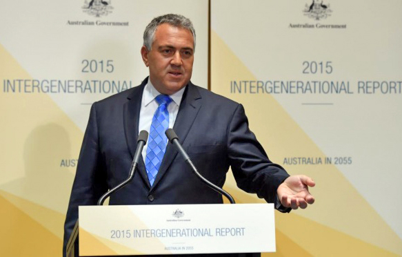 Joe Hockey launches his 2015 Intergenerational Report. PHOTO Guardian Australia