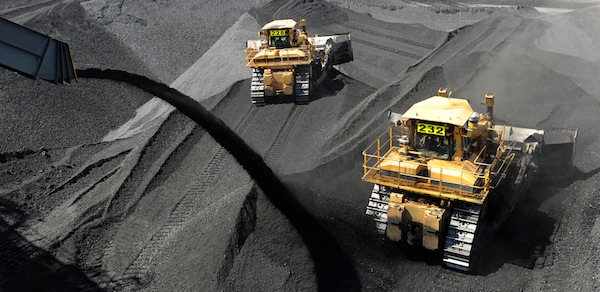 Coal being stockpiled before loading on to ships at RG Tanner Coal Terminal, Gladstone. PHOTO Dave Hunt, AAP