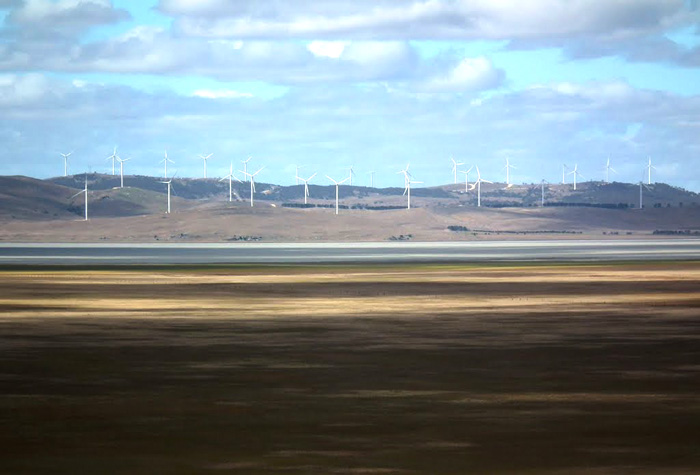 """Utterly offensive"" wind turbines, Capital Wind Farm on the shores of Lake George, near Canberra. PHOTO Alan Farlow/Leumeah"