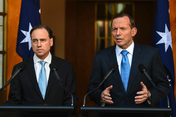 Greg Hunt and Tony Abbott: the PM thought climate policy was for lesser mortals. PHOTO ABC