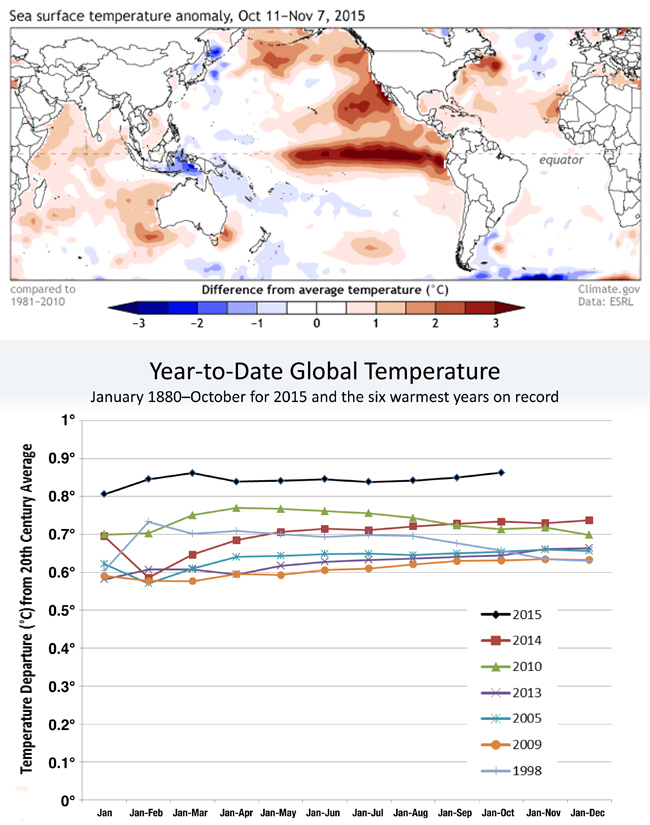 Sea surface temperatures in October (top) and temperature comparisons (bottom). IMAGES courtesy NOAA
