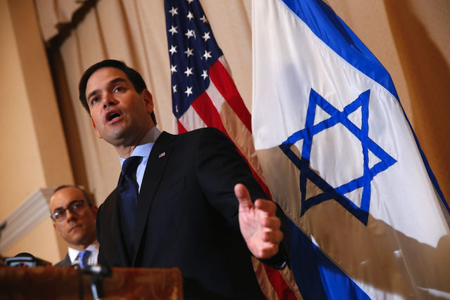 Senator Marco Rubio speaks at a Jewish temple in Palm Beach, Florida, on 11 March 2016. PHOTO AP/Paul Sancya via ThinkProgress.org