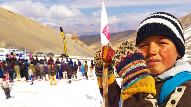 Optimism at work: a Hazara boy learns to ski. PHOTO ABC Foreign Correspondent