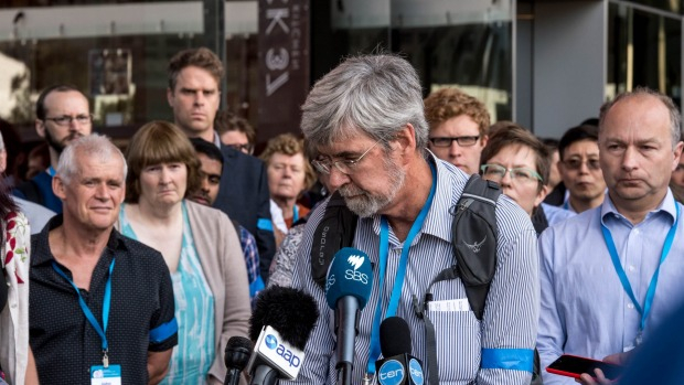 John Church speaks to media in Melbourne during a February protest against CSIRO climate science cuts. PHOTO Penny Stephens, Fairfax Media