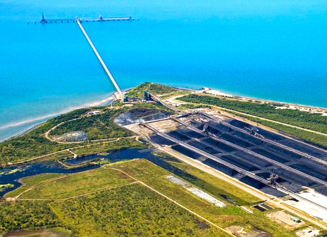 Abbot Point coal terminal and loading facility, in Great Barrier Reef waters near Bowen, Queensland.