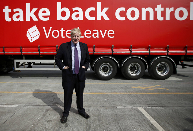 "Boris Johnson and the ""Leave"" campaign bus, when it all seemed so simple. PHOTO Reuters/Peter Nicholls"
