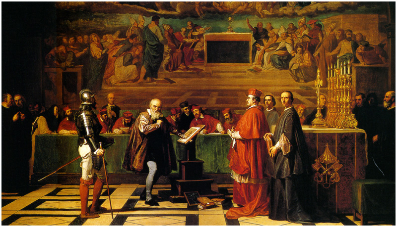 "Galileo's appearance before the Roman Inquisition is depicted in this 1847 painting, ""Galileo before the Holy Office"", by Joseph-Nicolas Robert-Fleury (Musée du Luxembourg)"