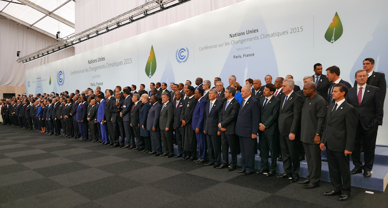 World leaders gather at the Paris meeting in late November 2015. PHOTO Wikpedia Commons