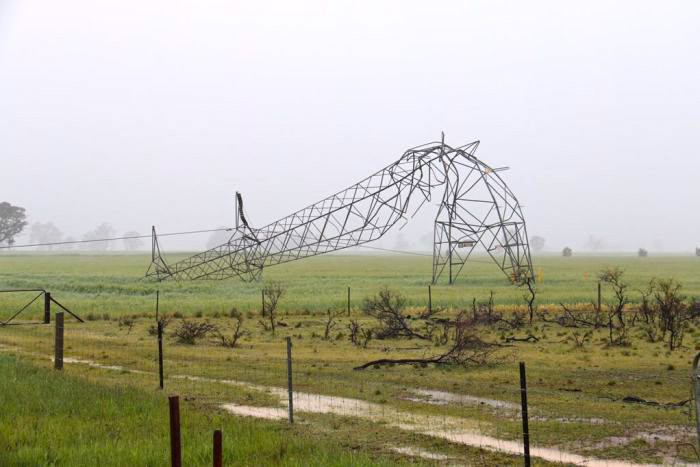 After the storm: the remains of a transmission tower north of Adelaide. PHOTO ABC