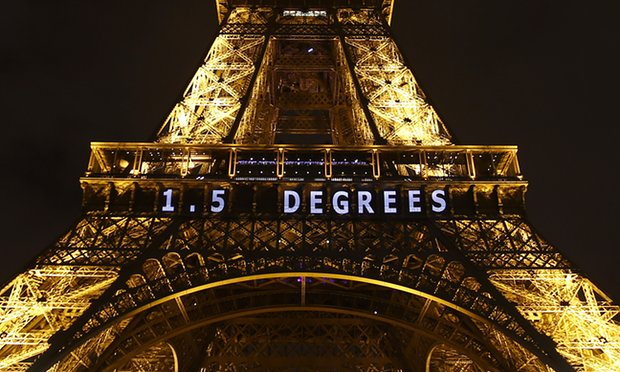 Paris's Eiffel Tower displays the aspirational target of 1.5C, now fast becoming an unachievable goal. PHOTO The Guardian