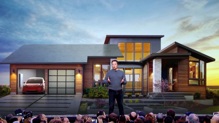 Elon Musk and his solar roof, at Universal Studios, Los Angeles. PHOTO YouTube