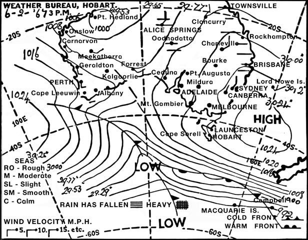 The map issued by the Hobart Weather Bureau the day before the 1967 fires showed barely a hint of the devastating weather to come.